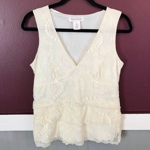 WHBM floral laced off white sleeveless top large